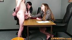 Office babes stroking dick during CFNM fetish
