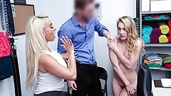 Blonde Mother  And  Daughter Fucked For Stealing