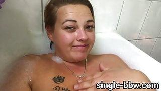 Sexy German Teen BBW with Huge Tits, fat belly in bathtub