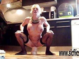 Insane rough fucking Anna fucks a gargantuan dildo insanely hard