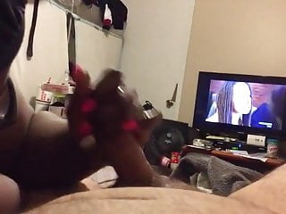 Free black shemale tv - Hot ebony handjobs white hubby in front of tv - huge nut