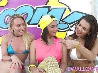 Teen gagging on big cock - Swallowed aj, keisha and violet share and gag on big cock