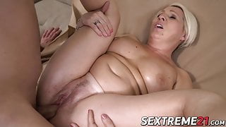 Hardcore drilling session with hot blonde big tits granny