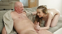 DADDY4K.Fat bald senior receives blowjob from outstanding