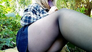 Squirting from my big dildo outdoors