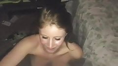 Blonde girlfriend handjob facial