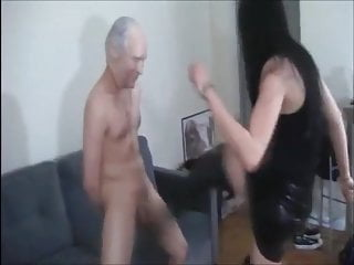 A good hard kick in the ass - She really enjoys kicking hard his balls