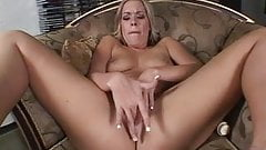 Hot blonde fingering herself
