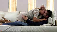 Mature mother fucks young lucky boy on couch