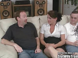 Wife fucking partys - Nasty slut wife threesome swallow fuck party for hubby