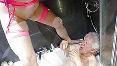 Tgirl Lisa Pissing on John in the Bath. Golden Showers