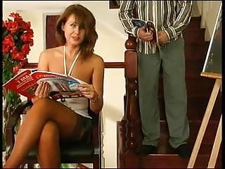 Porn stairs Sexy russian milf fucks man in stairs