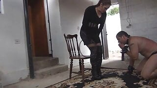 Angry domme with bullwhip demands respect