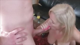 Blonde Wife taking care of two young dudes