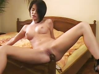 Gril geting fuck by a gril Horny gril fucks a bed post