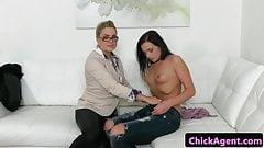 Lesbian female agent orally pleasured