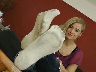 Amy brooks white sock fetish - Ball white dirty socks tease