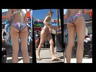 Naked surfer guy Candid jiggly surfer girl ass in bikini