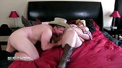 Huge tits and belly cowgirl rides her Rodeo star