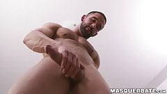 Sleepy hunk working on his big fat cock with power