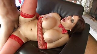 Nasty housewife in red fishnet stockings was pussy pounded
