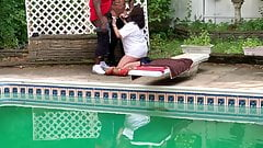 Slut wife sucking bbc at the pool side