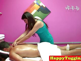 Oriental blowjob cumshot Oriental masseuse cocksucking and riding on spycam