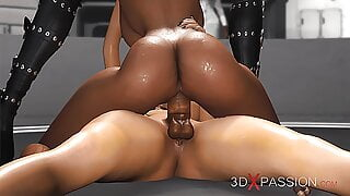 Area 51. Sci-fi androids fucking a sexy black girl in lab