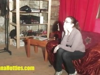 Shy girl nude at interview Shy teen does handjob and more at the interview