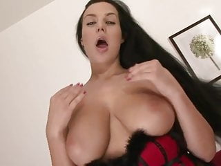 Sexy babe breasts covered - Sexy black stockings and cum on breasts