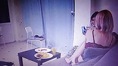 Two girls party at home in Lingerie