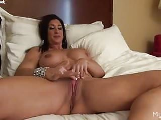 Female nude crotches Nude female bodybuilder rubs her big clit