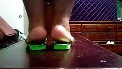 BBW Ebony Feet In Green Flip Flops