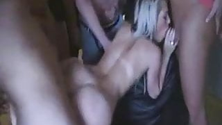 Blond gangbanged bareback at a private party