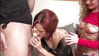 BRO CAUGHT GERMAN STEP SISTER WITH GF AND JOIN IN THREESOME