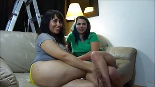 Renee Adams footjob and blowjob threesome