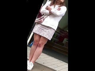 Milf on bus tube - Upskirt english girl-next-door on bus - uppie legs panties