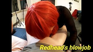Sexy redhead T-girl sucking a hard cock