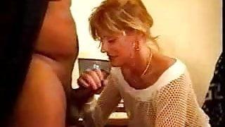 Mature blonde fucks black bull