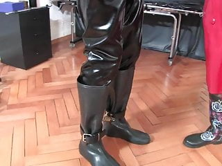 My cum is yellow Cum on my yellow boots latex slave part 1 of 4