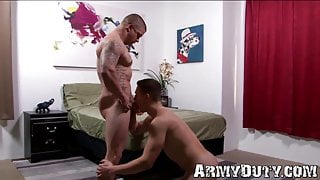 Inked military muscle breeding with top young cadet
