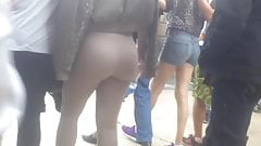 Huge ass, big tits in young lady, natural spandex color