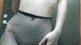 In fishnet tights