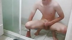wank and selfsuck solo in shower