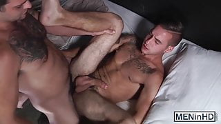 Hunky guys Dmitri and Tony enjoying hot hard sex on the bed