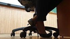 Tired pantyhose teacher shoeplay high heels