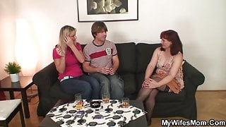 Wife watches as he fucks her very old mother