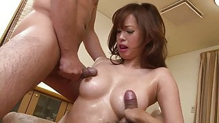 Pretty Japanese babe gets her face and pussy Jizzed