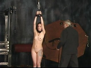 Cheeks are getting chubby Strapped up slave gets her ass cheeks whipped by master