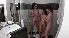 Taking a threesome shower with my girlfriend and my stepsister